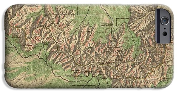 Vintage Map Of The Grand Canyon - 1926 IPhone Case by CartographyAssociates