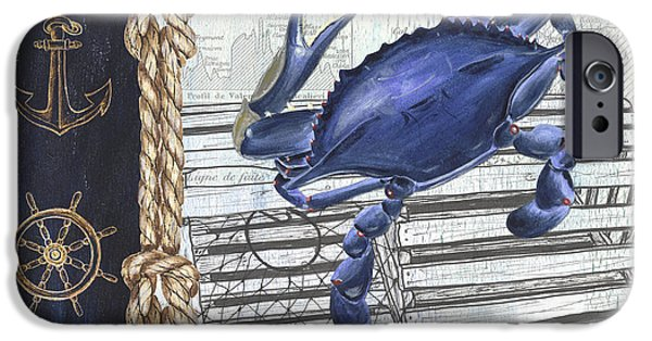 Vintage Nautical Crab IPhone Case by Debbie DeWitt
