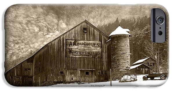 Vintage Weathered Winter Storm Barn Arbuckles Coffee Sign IPhone Case by John Stephens