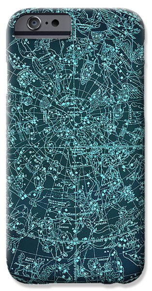 Vintage Zodiac Map - Teal Blue IPhone Case by Marianna Mills