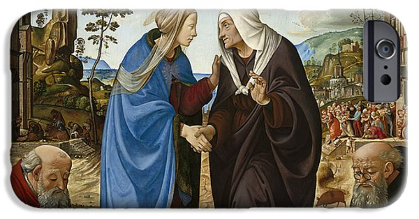 Visitation With Saint Nicholas And Saint Anthony IPhone Case by Piero di Cosimo
