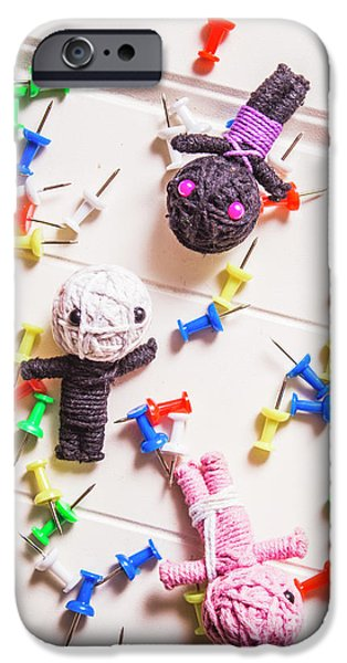 Voodoo Dolls Surrounded By Colorful Thumbtacks IPhone Case by Jorgo Photography - Wall Art Gallery