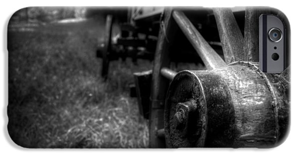 Wagon Wheels In Black And White IPhone Case by Greg Mimbs