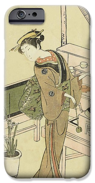 Waitress At The Owariya Teahouse IPhone Case by Ippitsusai Buncho