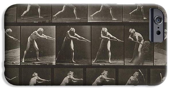 Walking, Ascending, Throwing IPhone Case by Eadweard Muybridge