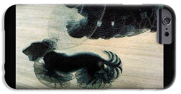 Walking Dog On Leash IPhone Case by Mindy Sommers