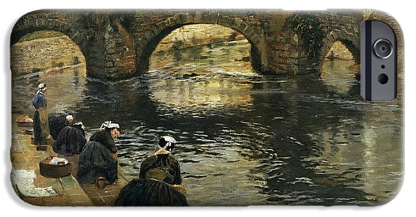 Washerwomen In The Morning At Quimperle  IPhone Case by Fritz Thaulow