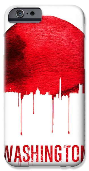 Washington Skyline Red IPhone Case by Naxart Studio