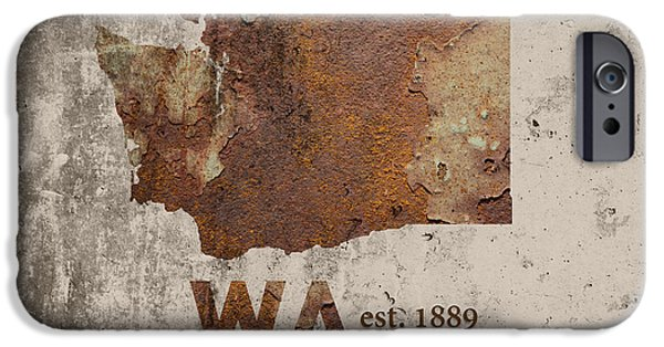 Washington State Map Industrial Rusted Metal On Cement Wall With Founding Date Series 042 IPhone Case by Design Turnpike