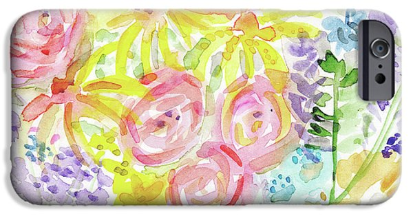 Watercolor Rose Garden- Art By Linda Woods IPhone Case by Linda Woods