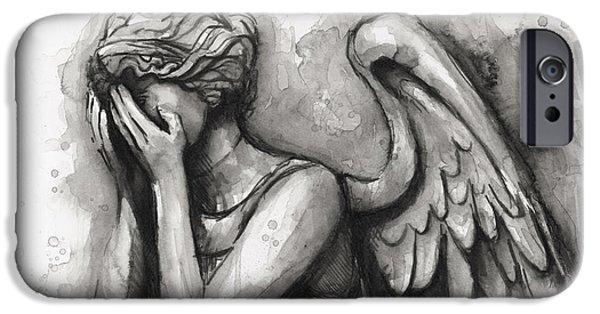 Weeping Angel Watercolor IPhone Case by Olga Shvartsur