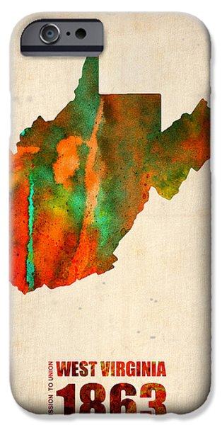 West Virginia Watercolor Map IPhone Case by Naxart Studio