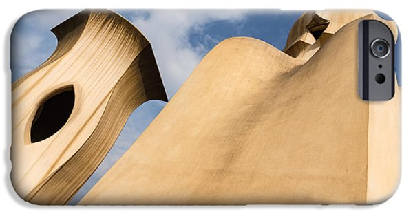 Whimsical Chimneys - Antoni Gaudi Smooth Shapes And Willowy Curves - Right IPhone Case by Georgia Mizuleva