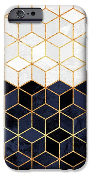 White And Navy Cubes IPhone 6s Case by Elisabeth Fredriksson