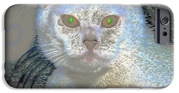 White Cat Green Eyes IPhone Case by David Lee Thompson