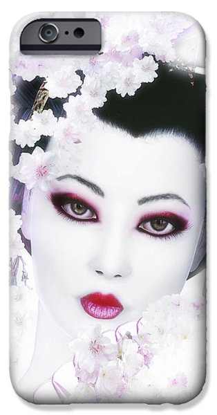 White Cherry Blossom Geisha IPhone Case by Shanina Conway