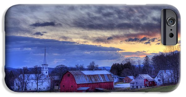 White Church Red Barn Country Scene - Peacham Vermont IPhone Case by Joann Vitali