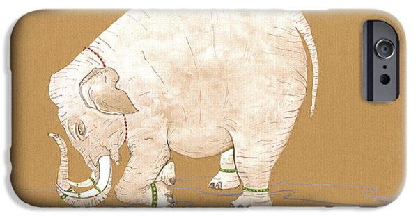 White Indian Elephant IPhone Case by Juan Bosco