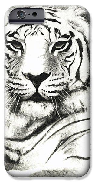 White Tiger Portrait IPhone Case by Lin Petershagen