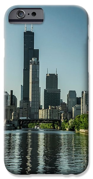 Willis Tower And Its Watery Reflection IPhone Case by Sven Brogren