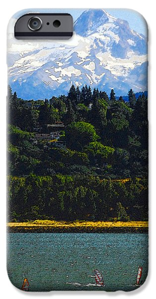 Wind Surfing Mt. Hood IPhone Case by David Lee Thompson