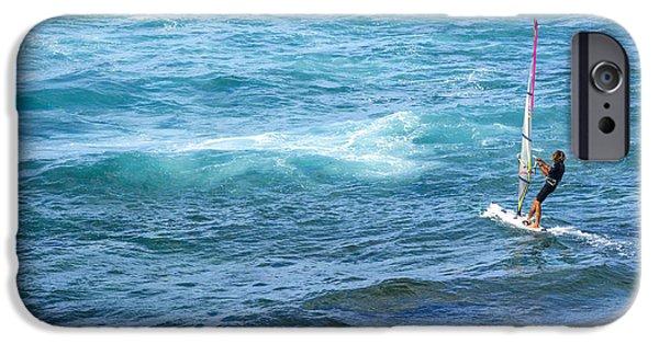 Windsurfer In Maui Hawaii IPhone Case by Diane Diederich