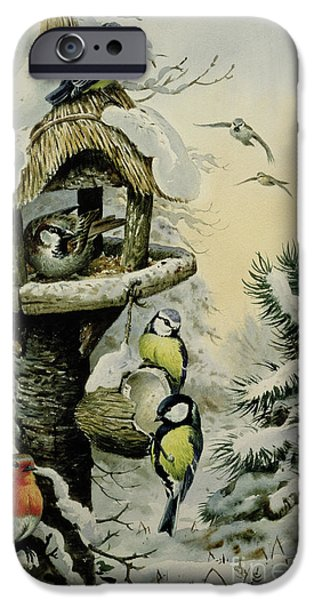 Winter Bird Table With Blue Tits IPhone Case by Carl Donner
