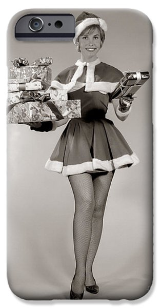 Woman In Sexy Santa Outfit, C.1960s IPhone Case by H. Armstrong Roberts/ClassicStock