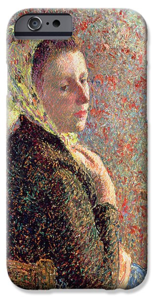 Woman Wearing A Green Headscarf IPhone Case by Camille Pissarro