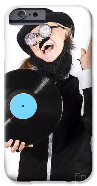 Woman With Vinyl Record Over White Background IPhone Case by Jorgo Photography - Wall Art Gallery