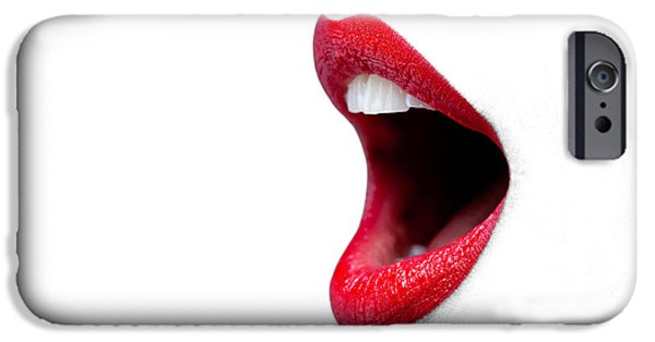 Womans Mouth Wide Open With Red Lipstick. IPhone Case by Richard Thomas