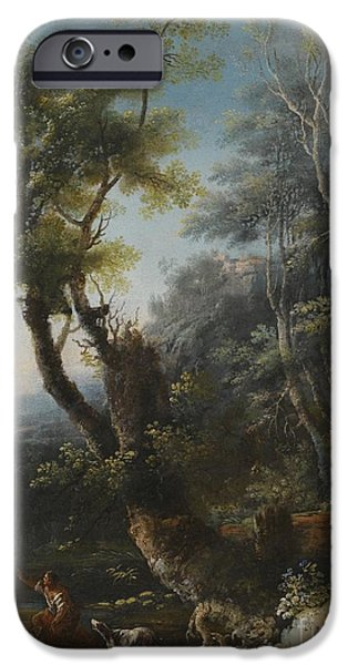 Wooded Landscape With Figures And A Dog IPhone Case by Michele Pagano