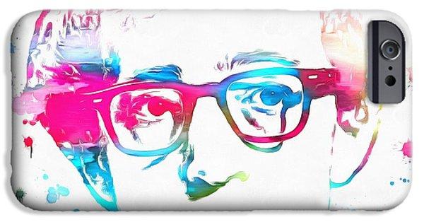 Woody Allen Paint Splatter IPhone Case by Dan Sproul