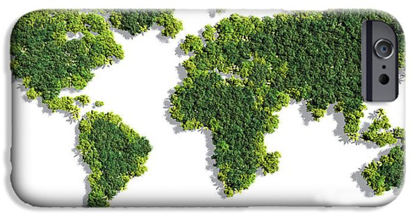World Map Made Of Green Trees IPhone Case by Johan Swanepoel