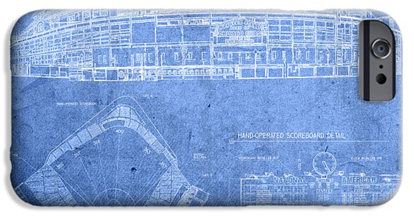 Wrigley Field Chicago Illinois Baseball Stadium Blueprints IPhone Case by Design Turnpike