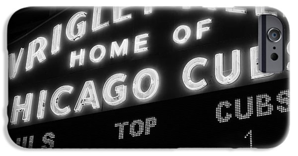 Wrigley Field Sign Black And White Picture IPhone Case by Paul Velgos