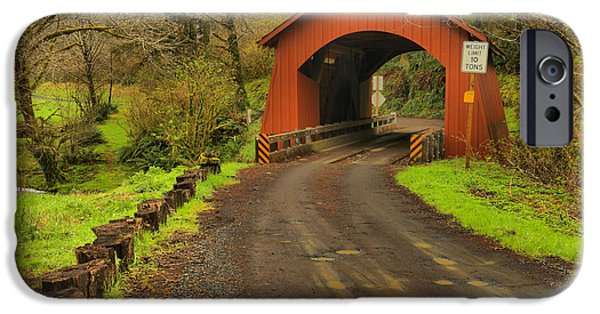 Yachats Covered Bridge IPhone Case by Adam Jewell