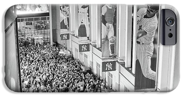 Yankee Stadium Great Hall 2009 World Series Black And White IPhone Case by Terry DeLuco