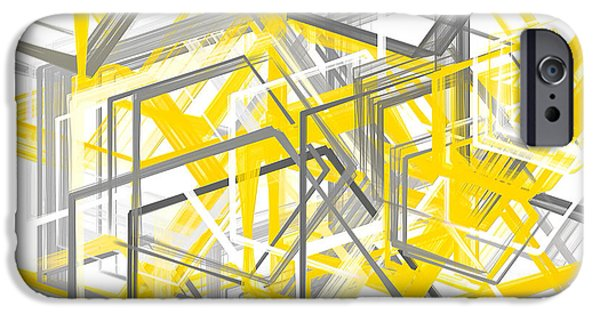 Yellow And Gray Geometric Shapes Art IPhone 6s Case by Lourry Legarde