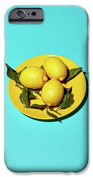 Yellow Lemons On Cyan IPhone 6s Case by Oleg Cherneikin