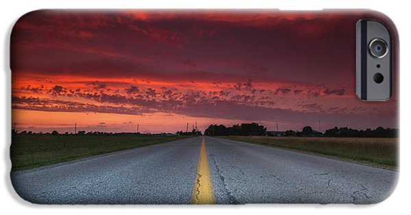 Yellow Line Sunset IPhone Case by Cale Best