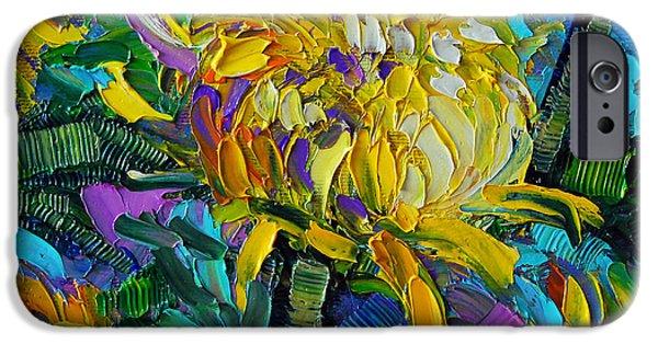 Yellow Mums IPhone Case by Mona Edulesco