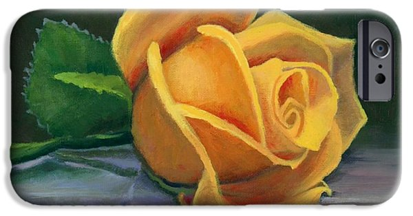 Yellow Rose IPhone Case by Janet King