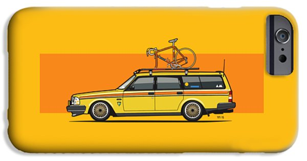 Yellow Volvo 245 Wagon With Roof Rack And Vintage Bicycle IPhone Case by Monkey Crisis On Mars