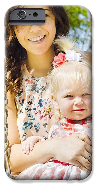 Young Mom With Her Baby Girl On A Swing Outside IPhone Case by Jorgo Photography - Wall Art Gallery