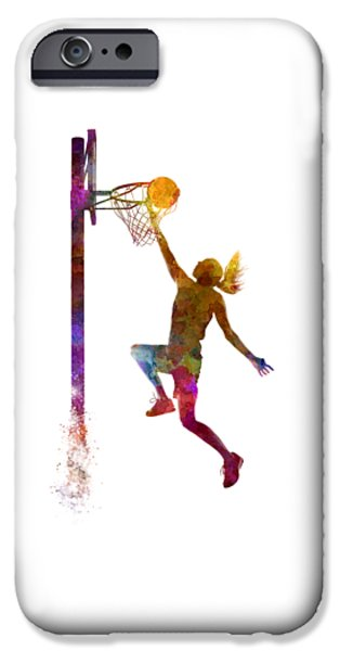 Young Woman Basketball Player 04 In Watercolor IPhone 6s Case by Pablo Romero