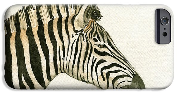 Zebra Head Study Painting IPhone Case by Juan  Bosco