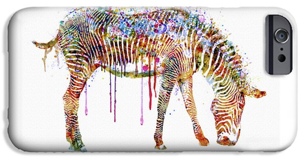 Zebra Watercolor Painting IPhone 6s Case by Marian Voicu