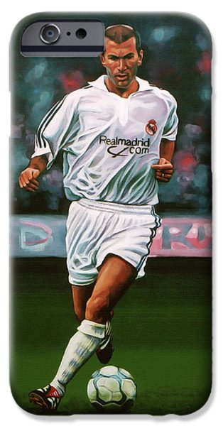 Zidane At Real Madrid Painting IPhone Case by Paul Meijering