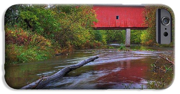 Zumbrota Minnesota Historic Covered Bridge 5 IPhone Case by Wayne Moran
